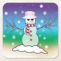 Snowman Square Paper Coaster