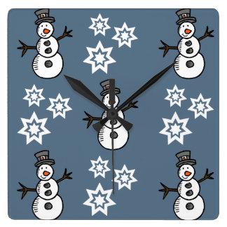 Snowman Square Wall Clock