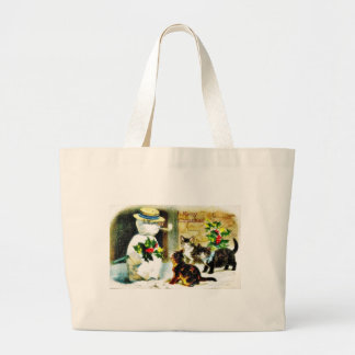 Snowman standing with holy leaves and cats around canvas bag