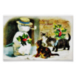Snowman standing with holy leaves and cats around posters