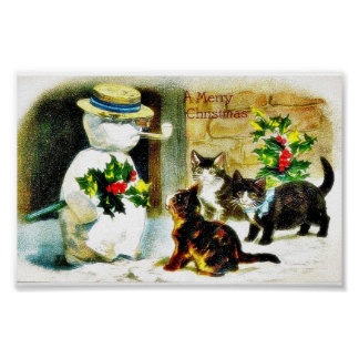 Snowman standing with holy leaves and cats around poster