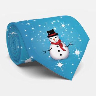 Snowman/Starry Blue Christmas Tie