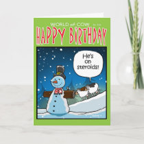Snowman Steriods Holiday Card