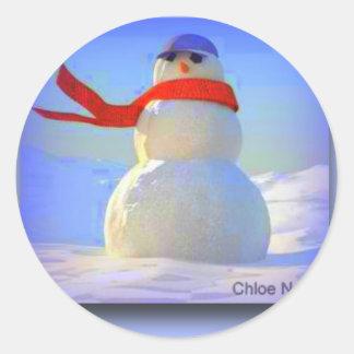 """""""Snowman"""" Round Stickers"""