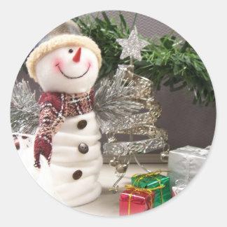 Snowman (Sticker) Classic Round Sticker