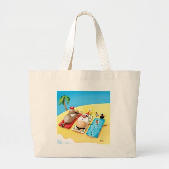 Snowman Sunbathing Large Tote Bag