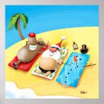 Snowman Sunbathing Posters