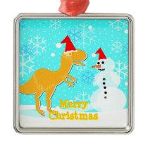 Snowman & T-Rex Cartoon Christmas Ornament