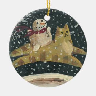 Snowman & Tabby Cat Christmas Ornament