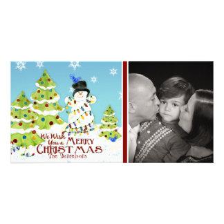 Snowman Tangled Lights Christmas Tree Bird Card