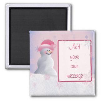 Snowman themed baby girl magnet