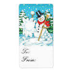 Snowman Throwing a Snowball Winter Fun Gift Tags Custom Shipping Label