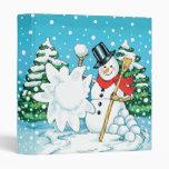 Snowman Throwing a Snowball Winter Fun Splat! 3 Ring Binders