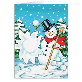Snowman Throwing a Snowball Winter Fun Splat! Card