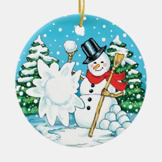 Snowman Throwing a Snowball Winter Fun Splat! Ceramic Ornament