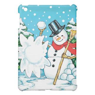 Snowman Throwing a Snowball Winter Fun Splat! iPad Mini Covers