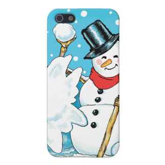 Snowman Throwing a Snowball Winter Fun Splat! Cases For iPhone 5
