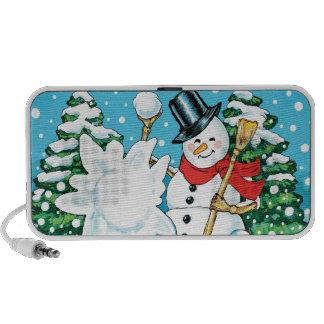 Snowman Throwing a Snowball Winter Fun Splat! Mini Speaker