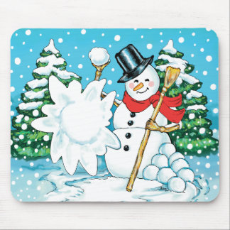 Snowman Throwing a Snowball Winter Fun Splat! Mouse Pad