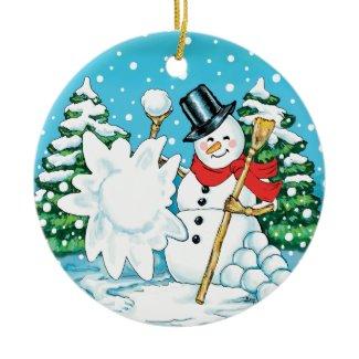 Snowman Throwing a Snowball Winter Fun Splat! ornament