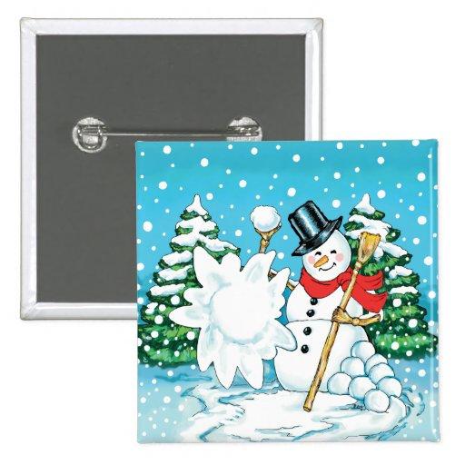 Snowman Throwing a Snowball Winter Fun Splat! Pins