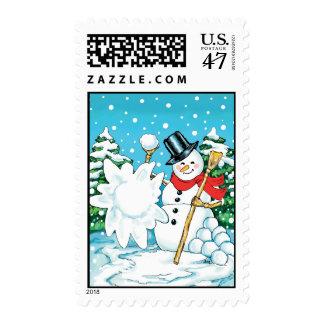 Snowman Throwing a Snowball Winter Fun Splat! Postage Stamp