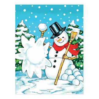 Snowman Throwing a Snowball Winter Fun Splat! Postcard