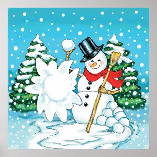 Snowman Throwing a Snowball Winter Fun Splat! Print
