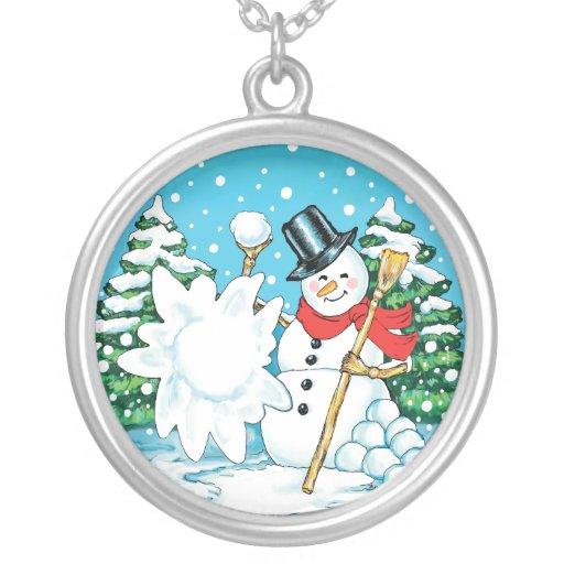 Snowman Throwing a Snowball Winter Fun Splat! Round Pendant Necklace