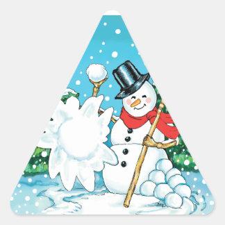 Snowman Throwing a Snowball Winter Fun Splat! Triangle Sticker