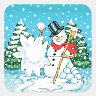 Snowman Throwing a Snowball Winter Fun Splat! Square Sticker