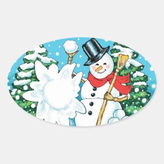 Snowman Throwing a Snowball Winter Fun Splat! Oval Sticker