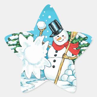 Snowman Throwing a Snowball Winter Fun Splat! Star Sticker