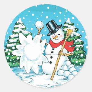 Snowman Throwing a Snowball Winter Fun Splat! Classic Round Sticker