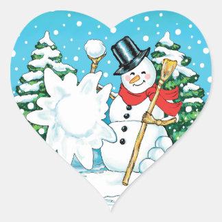 Snowman Throwing a Snowball Winter Fun Splat! Heart Sticker