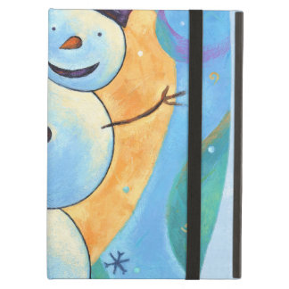 Snowman Tilting in Festive Winter Snow iPad Air Cover