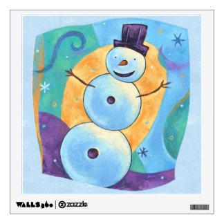 Snowman Tilting in Festive Winter Snow Wall Sticker
