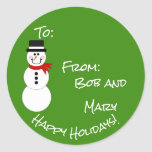 """Snowman To From Happy Holidays Gift Sticker<br><div class=""""desc"""">Festive Happy Holidays Snowman To From Gift Stickers for your  presents. Remove the name and print plain,  then hand write your name in the """"from"""" section,  or add your name and print. Colors and all text can be changed so you can customize your stickers to your liking.</div>"""