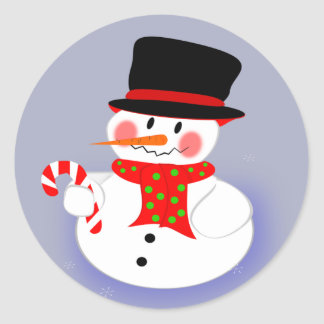 Snowman, Tophat and Candy Cane Classic Round Sticker