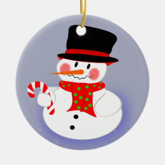 Snowman, Tophat and Candy Cane Double-Sided Ceramic Round Christmas Ornament