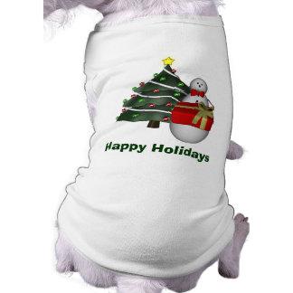Snowman Tree Gift Christmas Holiday Dog Shirt
