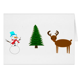 snowman,tree,reindeer greeting card