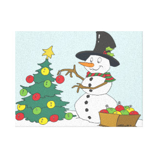 Snowman Trimming Tree Gallery Wrapped Canvas