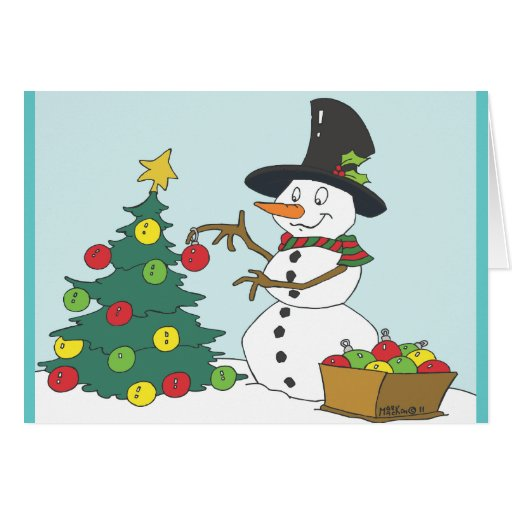 Snowman Trimming  Tree Greeting Cards