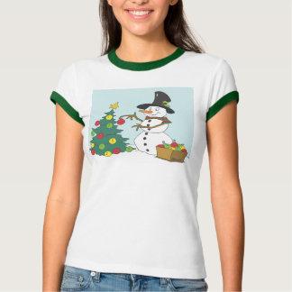 Snowman Trimming Tree Tee Shirt