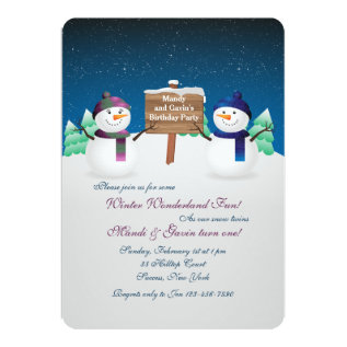 Snowman Twins Invitation at Zazzle