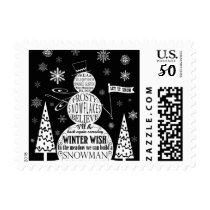 snowman typography art 1.jpg postage