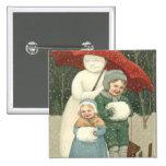 Snowman Umbrella Children Snow Winter Pinback Button