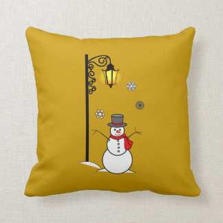 Snowman under a Lamppost in the Snow Pillow