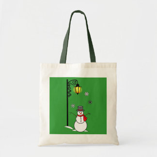 Snowman under a Lamppost in the Snow Tote Bag